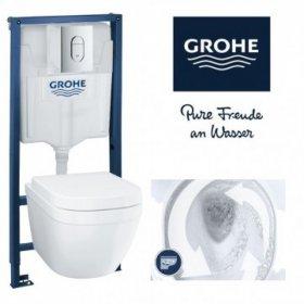 Klozeto komplektas GROHE RAPID SL+EURO RIMLESS, komplekte potinkinis rėmas GROHE RAPID SL, pakabinamas klozetas GROHE EURO CLEAN ON, be rėmelio, lėtai nusileidžiantis dangtis