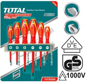 Atsuktuvų rinkinys TOTAL, 1000 V, SL ir PH, 6vnt THTIS566