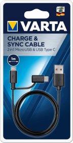 USB-micro USB/Type C laidas VARTA, 1m, juodos spalvos, 57948101401
