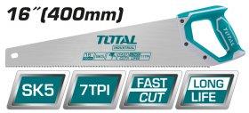 Pjūklas TOTAL, medžiui, trigubo galandinimo, SK5 plienas, 7TPI, 400 mm, THT55166D