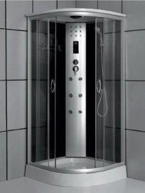 Dušo kabina COMBO Korsika DN-033-6W, 100 x 100 x 208 cm, masažinė, grūdintas stiklas, baltos spalvos galinės sienos, su akriliniu padėklu