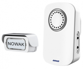 Skambutis ORNO 02018S, 32 mel., bevielis mygtukas, 230V, 4 garsumo lygiai, 50-80 dB, baltos sp