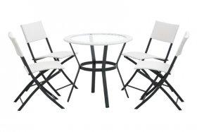 Lauko baldų komplektas LISA, stalas 79x71cm, 4 kėdės 57x84x46, plienas, grūdintas stiklas, apkrova iki 120 kg., ST