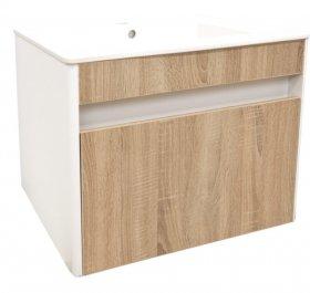 Vonios spintelė COMBO MONS 60, 45 x 60  x 44,5 cm, pakabinama, apatinė, su praustuvu,  1 stalčius, balta/Sonomos sp., DOM M0011, N