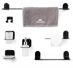 Vonios aksesuarų rinkinys RUBINETA ALTO, pakabinami, 5-ių dalų, juodi