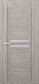 Laminuotų durų varčia ALBERO Karolina, su matiniu stiklu, dengta Soft-Touch plėvele, grafitas, 2000x38x600 mm.