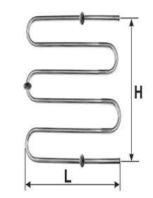 Rankšluosčių džiovintuvas-gyvatukas WELLMER, d32, M1'', 570 x 700 mm, 3 bangų, 3 met. laikliai, 316 plienas, 15426M