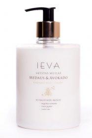Skystas muilas IEVA, medaus ir avokado aromato, 500 ml., su auksiniu dozatoriumi