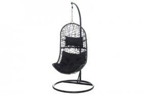 Pakabinamas krėslas PALERMO, juoda, plienas, juodos pagalvėlės, 115x80x68 cm., stovas 195x98 cm., apkrova iki 130 kg., ST