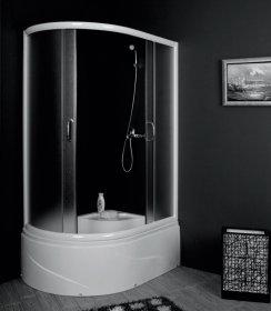 Dušo kabina COMBO Laguna DN-A8011, 80 x 110 x 202 cm, pusapvalė, kairinė, grūdintas stiklas, aukštas akrilinis padėklas 38 cm, baltos spalvos chromuotas rėmas, n