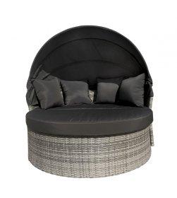 Lauko sofa su pakyla kojoms SYCD-1026W, 146 x 146 x 75 cm., metalas, sintetinis ratanas, pilka