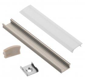 Profilis LED juostoms EUROLIGHT AL-S1-G, aliuminis, virštinkinis, pilkos spalvos anoduotas, ilgis 1 m, komplekte matinis dangtelis, 2 antgaliai ir 2 laikikliai
