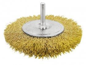 Vielinis šepetys TOTAL, su koteliu, 100 mm, viela 0,35 mm, jungties diam. 6,35 mm (1/4'') TAC34041