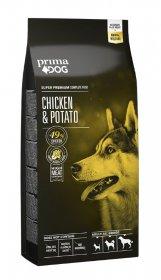 Sausas šunų ėdalas PRIMADOG, vištiena-bulvės, visiems suaugusiems šunims, 12 kg.