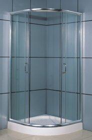 Dušo kabina COMBO Ibisa Aqua DN-033-1W, 90 x 90 x 198 cm, pusapvalės, akril. pad. 12,5 cm, skaidr. grūd. stiklas, skaidr. sien.