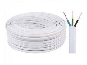 Instaliacinis kabelis LIETKABELIS OMY 300/300V 2*0,5 (H03VV-H2F) plokščias daugiagyslis, baltos spalvos