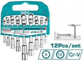 Raktų rinkinys TOTAL, lenkti, vamzdžio formos, CR-V, 7-19 mm, 9vnt., TLASWT0901