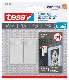 Klijuojami kabliukai TESA 77772, 2 vnt. x 0,5 kg, nelygiems paviršiams, skirti iki 0,5 kg svorio kabinti, komplekte 3 dvipusio lipnumo juostelės