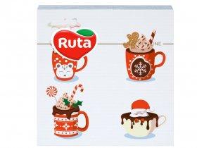 Kalėdinės servetėlės RUTA, 33 x 33 cm., 20 vnt., 2 sluoks., rožinės sp., puodeliai