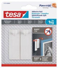 Klijuojami kabliukai TESA 77773, 2 vnt. x 1 kg, nelygiems paviršiams, skirti iki 1 kg svorio kabinti, komplekte 3 dvipusio lipnumo juostelės