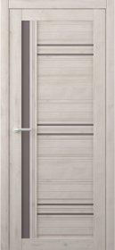 Laminuotų durų varčia ALBERO Nevada, su bronziniu stiklu, dengta Soft-Touch plėvele, kreminė, 2000x38x600 mm.
