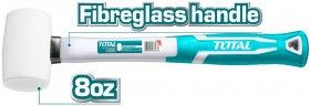 Guminis plaktukas TOTAL,  stiklo pluošto rankena, baltas, 45% nat. guma, 0,22kg., THT76836