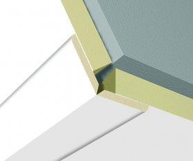 Kampas universalus KRONO ORIGINAL 9077 Edelweiss pore, lankstomas laminuotai sienų / lubų MDF apdailai, 2600x22x22 mm