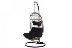 Pakabinamas krėslas PALERMO, pilkas, plienas, juodos pagalvėlės, 115x80x68 cm., stovas 195x98 cm., apkrova iki 130 kg., ST