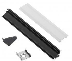Profilis LED juostoms EUROLIGHT AL-C2-B, aliuminis, kampinis, juodos spalvos anoduotas, ilgis 2 m, komplekte matinis dangtelis, 4 antgaliai ir 4 laikikliai