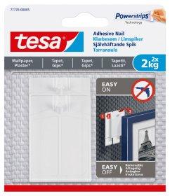 Klijuojami kabliukai TESA 77776, 2 vnt. x 2 kg, nelygiems paviršiams, skirti iki 2 kg svorio kabinti, komplekte 6 dvipusio lipnumo juostelės