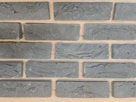 Fasadinės plytelės  HANDMADE 205 x 63 x 17 mm, pilkos spalvos, Lietuva. Išeiga vnt./m2 prie 12 mm siūlės 65 vnt.