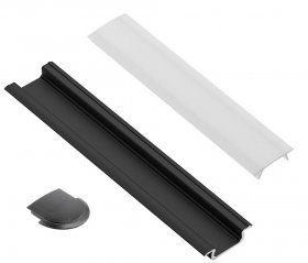 Profilis LED juostoms EUROLIGHT AL-R1-B, aliuminis, įfrezuojamas, juodos spalvos anoduotas, ilgis 1 m, komplekte matinis dangtelis ir 2 antgaliai