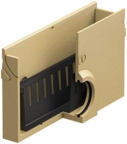 Įtekėjimo dėžė ACO EuroLine, polimerbetoninė, be grotelių, su nešvarumų indu, L-50 cm, 38503