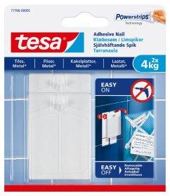 Klijuojami kabliukai TESA 77766, 2 vnt. x 4 kg, skirti iki 4 kg svorio kabinti, komplekte 6 dvipusio lipnumo juostelės