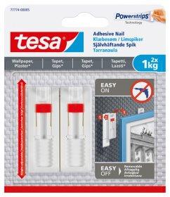 Klijuojami kabliukai TESA 77774, 2 vnt. x 1 kg, nelygiems paviršiams, reguliuojamas aukštis, skirti iki 1 kg svorio kabinti, komplekte 3 dvipusio lipnumo juostelės