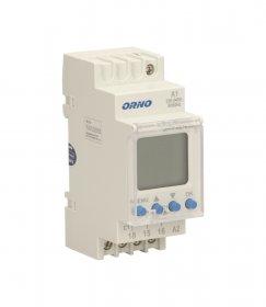 Laikmatis ant DIN bėgelio ORNO OR-PRE-433, skaitmeninis, 52 programų, dienos/savaitės/pulso ciklas, automatinis vasaros/žiemos laiko įjungimas, LCD ekranas
