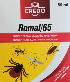 Koncentratas vabzdžių naikinimu CREDO Romal 65, 50 ml.