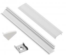 Profilis LED juostoms EUROLIGHT AL-C1-W, aliuminis, kampinis, baltos spalvos anoduotas, ilgis 1 m, komplekte matinis dangtelis, 2 antgaliai ir 2 laikikliai