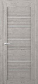 Laminuotų durų varčia ALBERO Texas, su matiniu stiklu, dengta Soft-Touch plėvele, grafitas, 2000x38x600 mm.