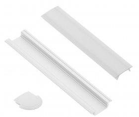 Profilis LED juostoms EUROLIGHT AL-R1-W, aliuminis, įfrezuojamas, baltos spalvos anoduotas, ilgis 1 m, komplekte matinis dangtelis ir 2 antgaliai