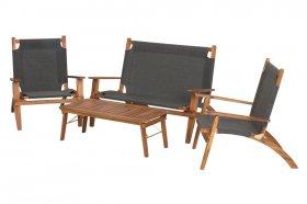 Lauko baldų komplektas MEKONG, medinis, tekstilenas, sofa 127x89x81cm, 2 kėdės 76x89x91cm, stalas 100x50x37cm, maks. Iki 120kg.