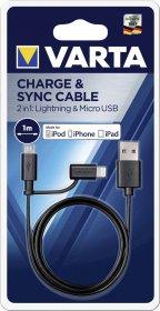USB-micro USB/iPhone laidas VARTA, 1m, juodos spalvos, iPhone, iPad, iPod, 57943101401