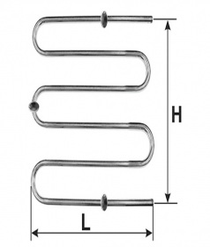 Rankšluosčių džiovintuvas-gyvatukas WELLMER, d32, F1/2'', 570 x 700 mm, 3 bangų, 3 met.laikliai, 316 plienas, 15456M