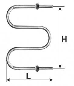 Rankšluosčių džiovintuvas-gyvatukas WELLMER, d32, M1'', 570 x 450 mm, 2 bangų, 2 met. laikliai, 316 plienas, 15411M