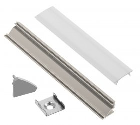 Profilis LED juostoms EUROLIGHT AL-C2-G, aliuminis, kampinis, pilkos spalvos anoduotas, ilgis 2 m, komplekte matinis dangtelis, 4 antgaliai ir 4 laikikliai