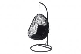 Pakabinamas krėslas SWING, juodas, aukštis 198 cm, stovo plotis 97 cm, su pagalvėlėmis, maks. apkrova iki 130 kg.