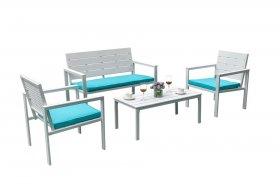 Lauko baldų komplektas SF4002 NOVELLY HOME, stalas 98x48x39cm,kėdės 62,5x64x78cm,sofa 120x64x39cm,metalas,,mėlynos pagalvės