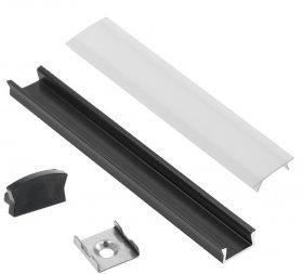 Profilis LED juostoms EUROLIGHT AL-S1-B, aliuminis, virštinkinis, juodos spalvos anoduotas, ilgis 1 m, komplekte matinis dangtelis, 2 antgaliai ir 2 laikikliai