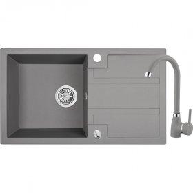 Plautuvės komplektas BARSA OD-316, 76 x 44 x 16 cm, akmens masės, pilkos spalvos, komplekte maišytuvas, ventilis
