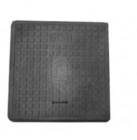 Keturkampis kanalizacijos šulinio dangtis 4IQ HD A15, 680 x 680 mm, 21 kg, apkrova 1,5 t, polimerinis, juoda sp.